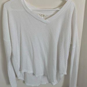 white casual waffle long sleeve t-shirt